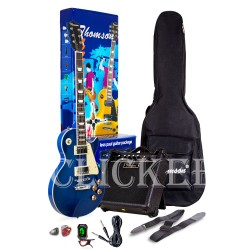 Thomson Les Paul w/ heavy duty amp, tuner and Complete accessories Package Electric Guitar (Blue) image here