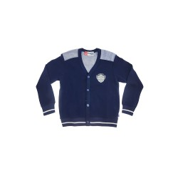 Big and Small Buttondown Sweater with Patch Detail image here