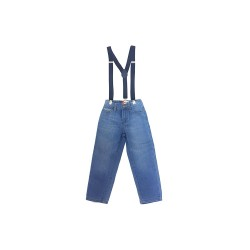 Big and Small Washed Denim Pants with Suspenders image here