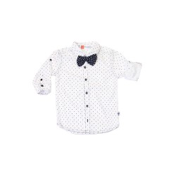 Big and Small Longsleeved Printed Buttondown Polo with Bowtie image here