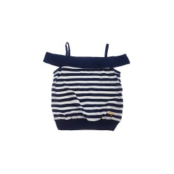 Big and Small Off Shoulder Stripe Blouse image here